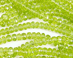 Peridot Faceted Rondelle 4mm
