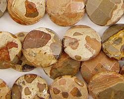 African Brown Rhyolite Faceted Coin 14mm