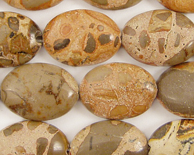 African Brown Rhyolite Flat Oval 18x13mm
