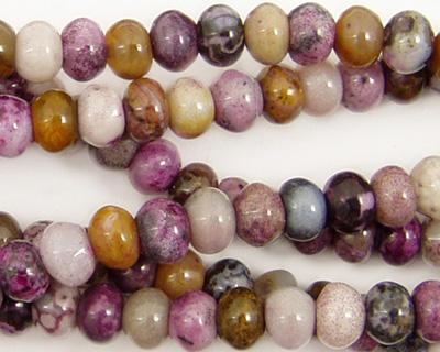 Purple Crazy Lace Agate Rondelle 6mm