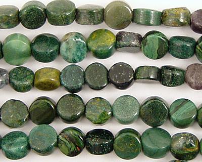 Verdite (dk. green) Puff Coin 6mm