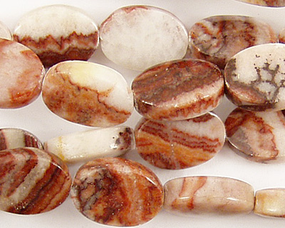 Red Zebra Jasper Flat Oval 14x10mm