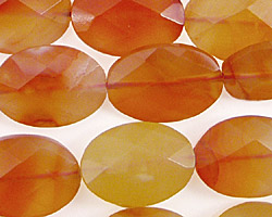 Carnelian (natural) Faceted Flat Oval 18x13mm