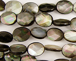 Black Shell Faceted Flat Oval 10x8mm