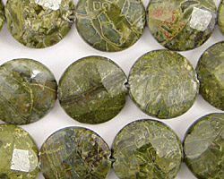 African Green Jasper Faceted Coin 14mm