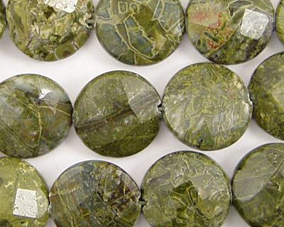African Green Jasper Faceted Coin 14mm