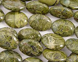 African Green Jasper Flat Oval 14x10mm