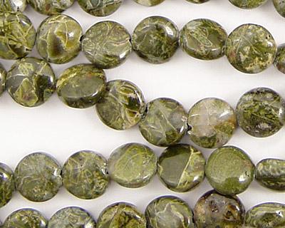 African Green Jasper Puff Coin 8mm