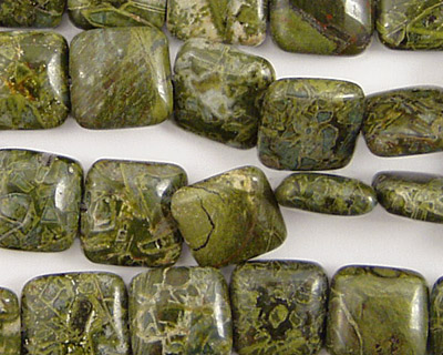 African Green Jasper Puff Square 10mm