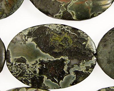 Green Conglomerate Jasper Flat Oval 35x25mm