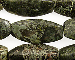 Green Conglomerate Jasper 3-sided Rice 30x15mm