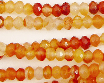 Carnelian (natural) Faceted Rondelle 6mm