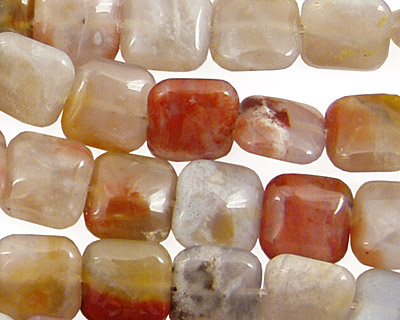 Brown Flower Agate Puff Square 10mm