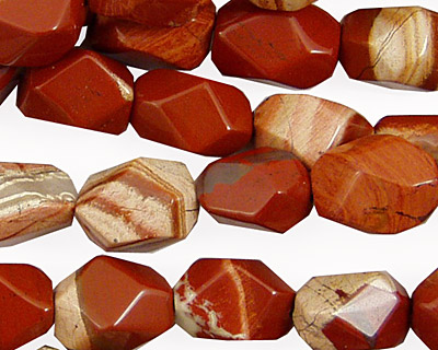Red Bend Jasper Faceted Nugget 12x10mm