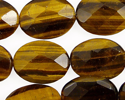 Tiger Eye Faceted Flat Oval 20x15mm