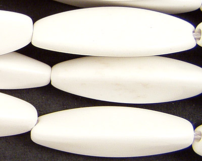 White Agate 3-Sided Rice 35x10mm