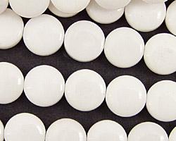 White Agate Puff Coin 10mm