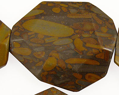 Golden Horse Jasper Faceted Flat Slab 35-45x25-35mm