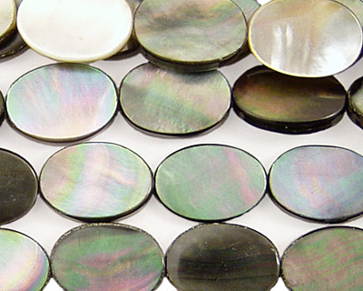 Black Shell Flat Oval 14x10mm