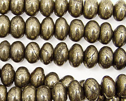 Golden Pyrite (silver tone) Rondelle 9mm