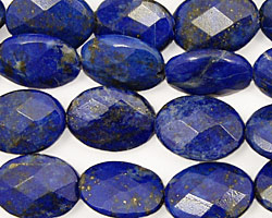 Lapis Faceted Flat Oval 14x10mm