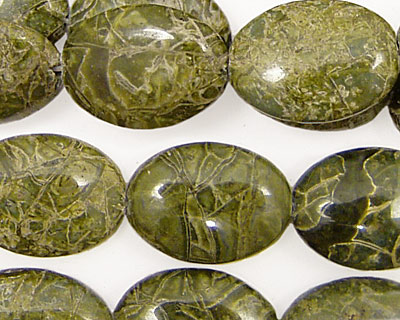 African Green Jasper Flat Oval 18x13mm