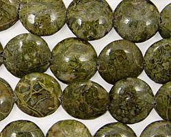 African Green Jasper Puff Coin 12mm