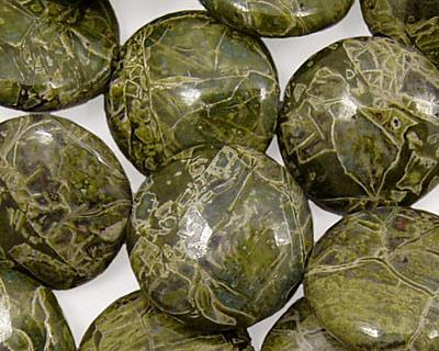 African Green Jasper Puff Coin 18mm