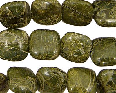 African Green Jasper Puff Square 12mm