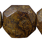 Bronzite Faceted Flat Octagon 40mm