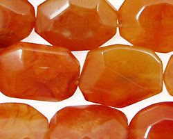 Madagascar Carnelian Faceted Flat Nugget 18-20x13-16mm