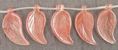 Cherry Quartz Carved Leaf 20x40-45mm