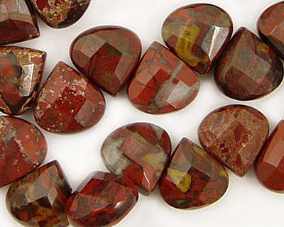 Poppy Jasper Flat Pear Briolette 13x13mm