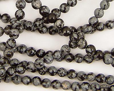 Snowflake Obsidian Round 4mm