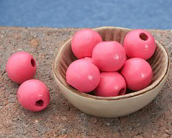 Pink Grapefruit Wood Round 14mm