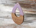 Walnut Wood & Lavender Resin Open Teardrop Focal 25x38mm