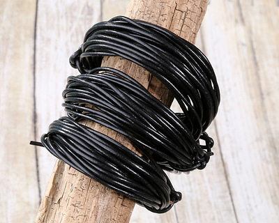 Black Round Leather Cord 2mm, 16 feet