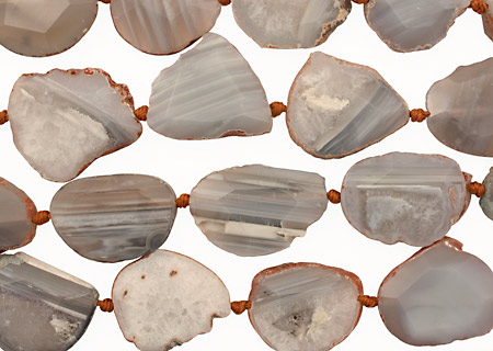Gray Line Agate Natural Edge Freeform Faceted Slab 27-43x21-41mm