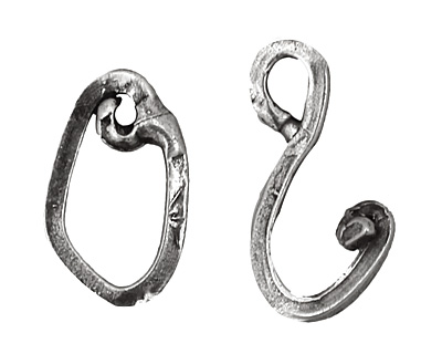 Rustic Charms Sterling Silver Hook & Eye Clasp 30x10mm
