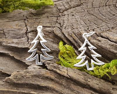 Nina Designs Sterling Silver Christmas Tree Charm 14x21mm