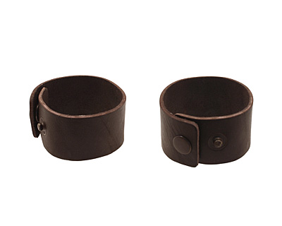Red Brown Leather Cuff Bracelet 1-1/2