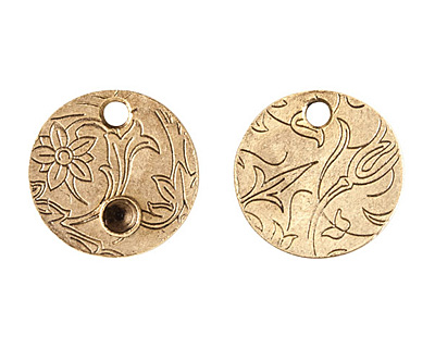 Nunn Design Antique Gold (plated) Decorative Small Circle Bezel Tag 20mm