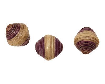 African Paper (beige, eggplant) Bicone 25x22-23mm