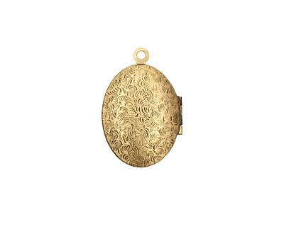 Antique Brass (plated) Oval Filigree Heirloom Locket 17x25mm