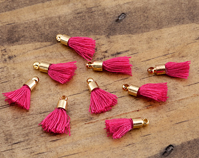 Briar Rose w/ Gold (plated) Bead Cap Tiny Thread Tassel 15mm