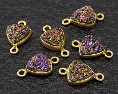 Druzy (metallic purple) Triangle Link in Gold Vermeil 15x9mm