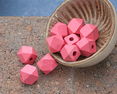 Pink Grapefruit Wood Faceted Nugget 10mm