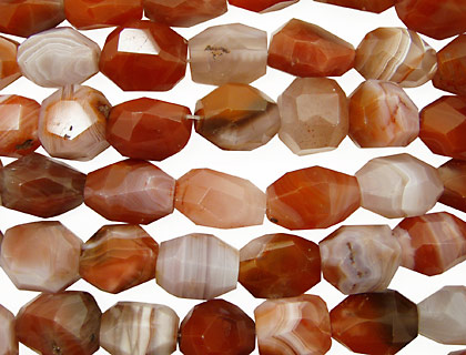 Red & Gray Botswana Agate Faceted Nugget 18-24x13-17mm