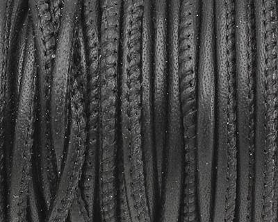 Black Stitched Nappa Round Leather Cord 2.5mm