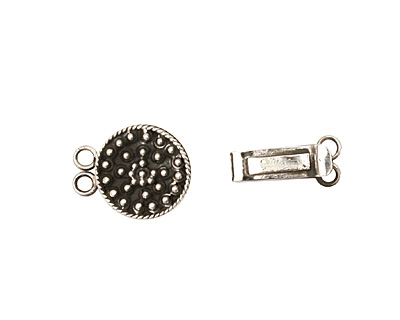 Sterling Silver Round Box Clasp w/ Beaded Sun 25x16mm